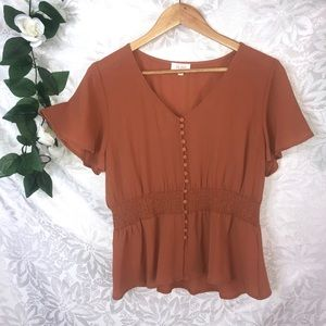 Lily Loves Rust Coloured Top/Blouse Size 16